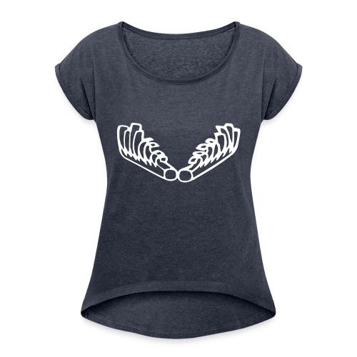 Kiehiset_logo_valk_vetoketjuhuppari - Naisten T-paita, jossa rullatut hihat