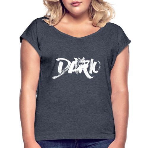 illustration logo blanc - T-shirt à manches retroussées Femme