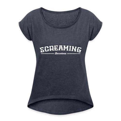 SCREAMING - Camiseta con manga enrollada mujer