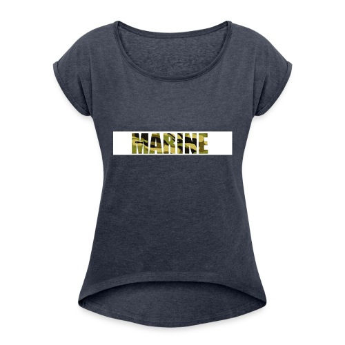 Marine Army - Dame T-shirt med rulleærmer