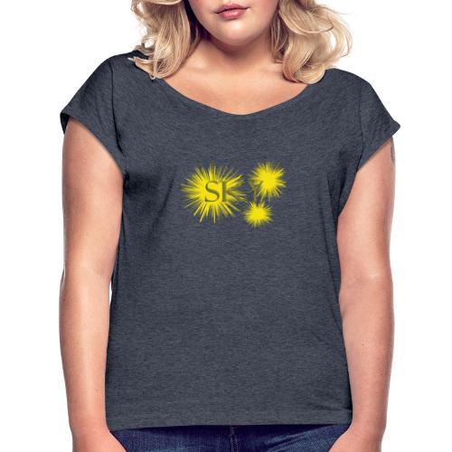 sky - Frauen T-Shirt mit gerollten Ärmeln