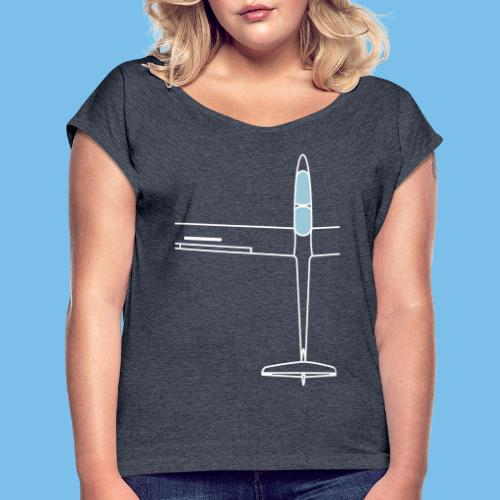 Segelflugzeug von oben Segelflieger gleiten - Frauen T-Shirt mit gerollten Ärmeln