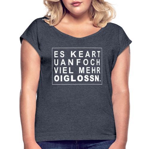 oilossn - Frauen T-Shirt mit gerollten Ärmeln