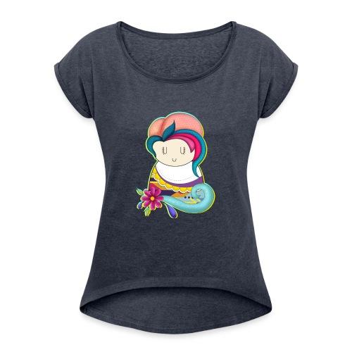 ilustración Muñeca - Camiseta con manga enrollada mujer