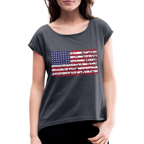 AVM WWII Trashed 48 star flag in color D'Day - Vrouwen T-shirt met opgerolde mouwen