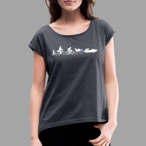 Bicycle evolution white Quattrovelo - Naisten T-paita, jossa rullatut hihat
