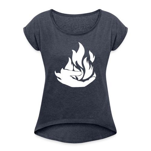 Flamekeeper logo - Vrouwen T-shirt met opgerolde mouwen