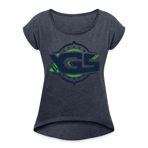 XGS black - Frauen T-Shirt mit gerollten Ärmeln