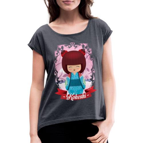 Kokeshi mod.2 - Frauen T-Shirt mit gerollten Ärmeln
