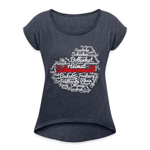 Schwarzwald Herz - Frauen T-Shirt mit gerollten Ärmeln