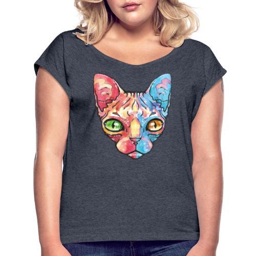 EgyptianCat - Frauen T-Shirt mit gerollten Ärmeln
