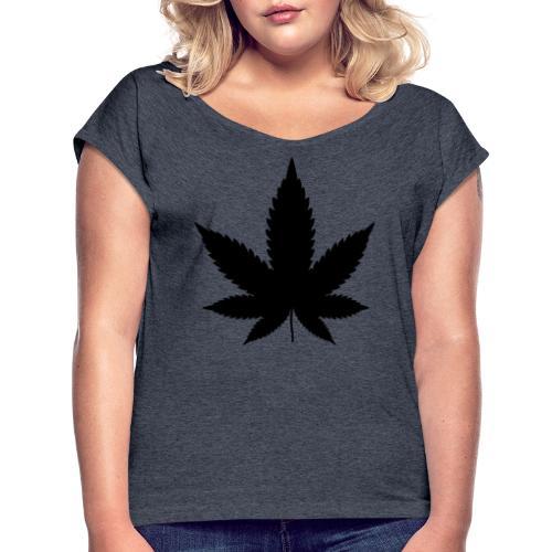 CannabisBlack - Frauen T-Shirt mit gerollten Ärmeln