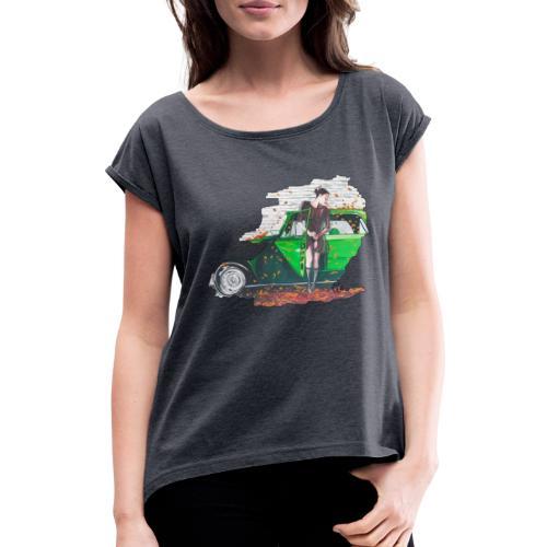 Fall - Frauen T-Shirt mit gerollten Ärmeln