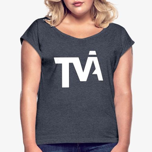 TVÅHUNDRA VIT - T-shirt med upprullade ärmar dam