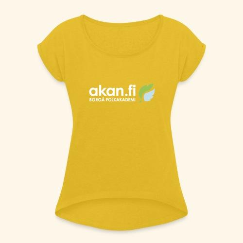 Akan White - T-shirt med upprullade ärmar dam