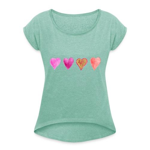 Herzen - Frauen T-Shirt mit gerollten Ärmeln