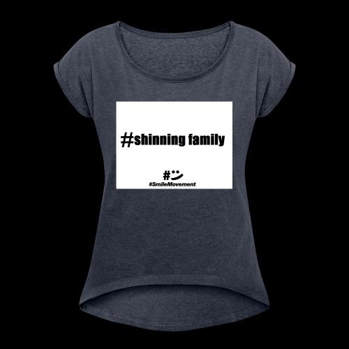 shinning family - T-shirt à manches retroussées Femme