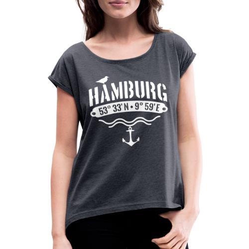 Hamburg Koordinaten Anker Möwe Längengrad - Frauen T-Shirt mit gerollten Ärmeln