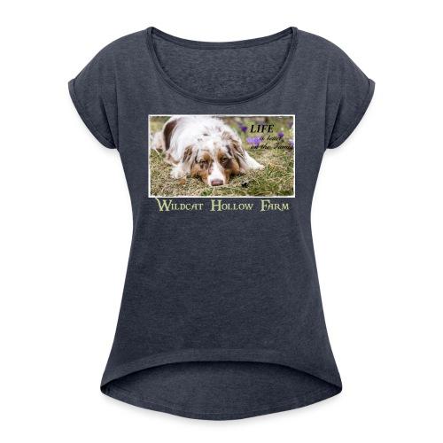 Life on the farm 2 - Frauen T-Shirt mit gerollten Ärmeln