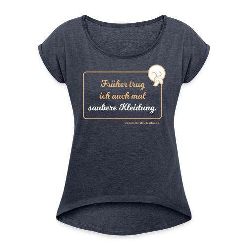 Saubere Kleidung zwei - Frauen T-Shirt mit gerollten Ärmeln