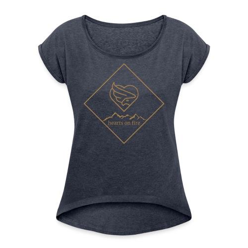 hearts on fire Gipfel - Frauen T-Shirt mit gerollten Ärmeln