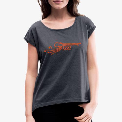Life on Europa ? - Frauen T-Shirt mit gerollten Ärmeln