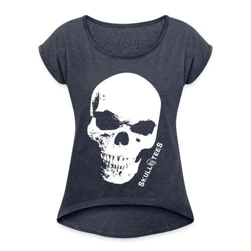 skullGROSS weiss png - Frauen T-Shirt mit gerollten Ärmeln