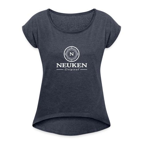 neuken white - Vrouwen T-shirt met opgerolde mouwen