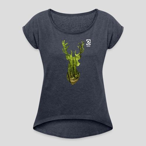 Eifel-Hirsch - weiß - Frauen T-Shirt mit gerollten Ärmeln