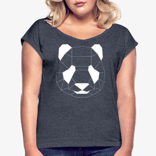 Panda Geometrisch weiss - Frauen T-Shirt mit gerollten Ärmeln