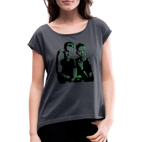 ATTITUDE<>WOKE (neon green) - Dame T-shirt med rulleærmer