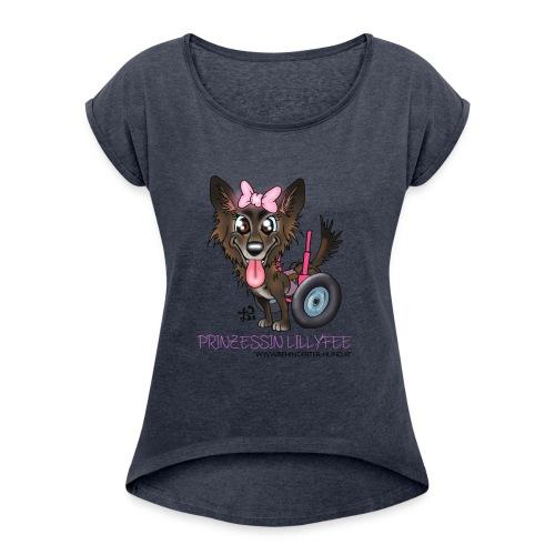 lilly transp 02 hell kopie - Frauen T-Shirt mit gerollten Ärmeln