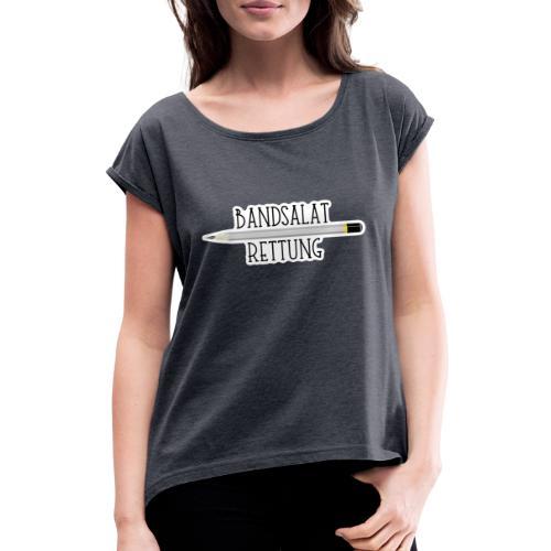 Bleistift Bandsalat Rettung 2 - Frauen T-Shirt mit gerollten Ärmeln