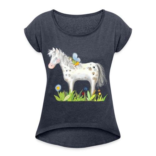 Fee. Das Pferd und die kleine Reiterin. - Frauen T-Shirt mit gerollten Ärmeln