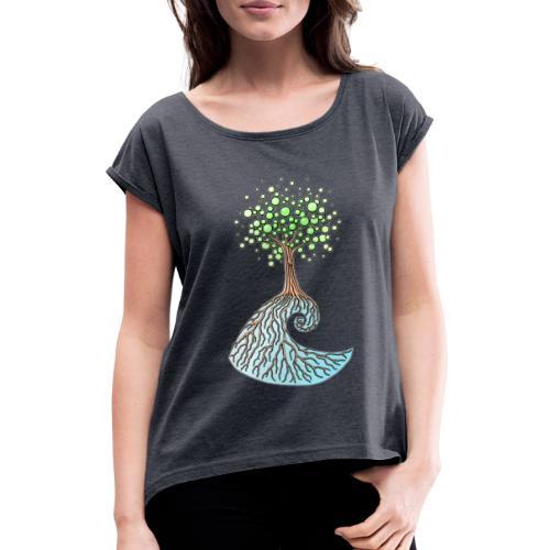 Wellenbaum - Frauen T-Shirt mit gerollten Ärmeln