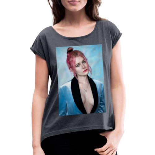 Candy Girl - Frauen T-Shirt mit gerollten Ärmeln