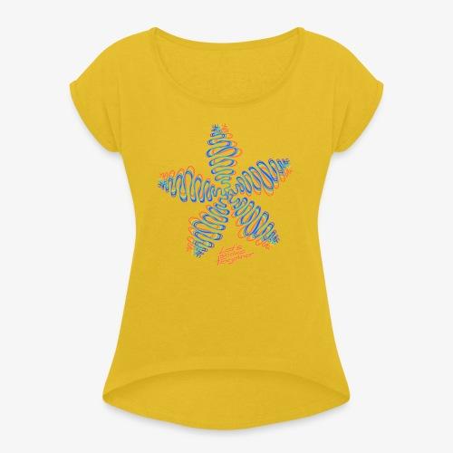 Good Vibes - let's shake together - Frauen T-Shirt mit gerollten Ärmeln
