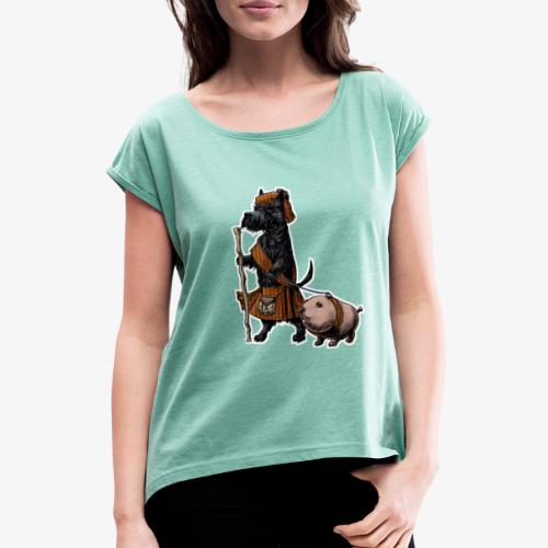 Scottie and Haggis dark t - Women's T-Shirt with rolled up sleeves