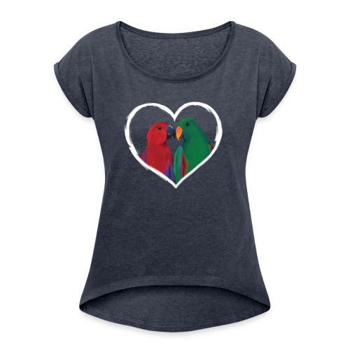 parrots heart - Women's T-Shirt with rolled up sleeves