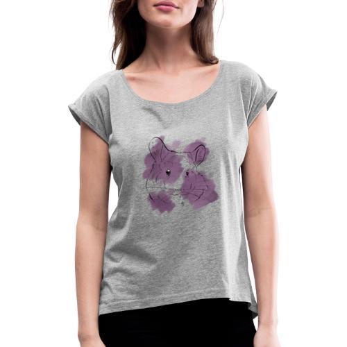 Violet splash chinchilla - Naisten T-paita, jossa rullatut hihat