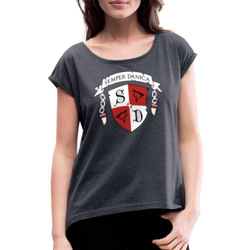 SD logo - hvide lænker - Dame T-shirt med rulleærmer