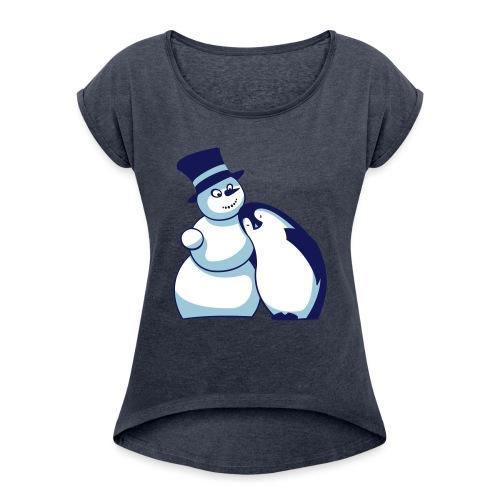 Schneemann und Pinguin - Frauen T-Shirt mit gerollten Ärmeln