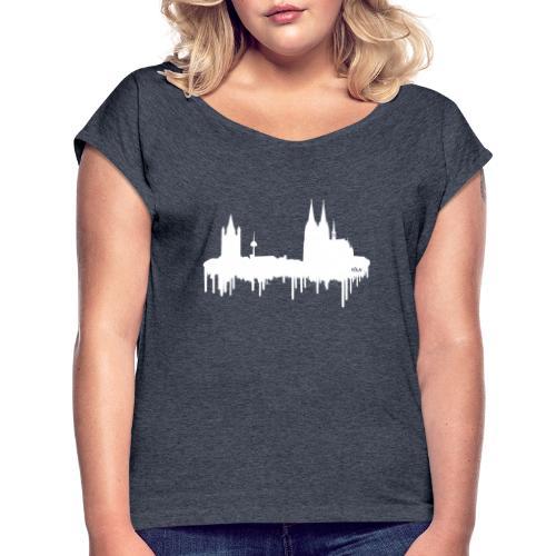 Skyline Köln - Weiß - Frauen T-Shirt mit gerollten Ärmeln
