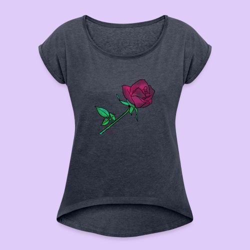 Diseño rose - Camiseta con manga enrollada mujer