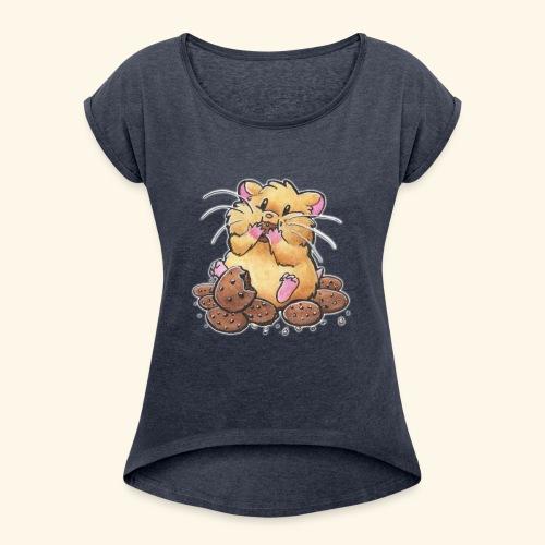 Cookie Hamster - Frauen T-Shirt mit gerollten Ärmeln