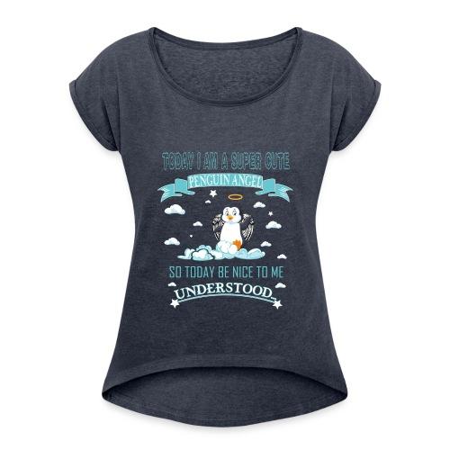 Pinguin Engel Weihnachten Antarktis Shirt Geschenk - Frauen T-Shirt mit gerollten Ärmeln