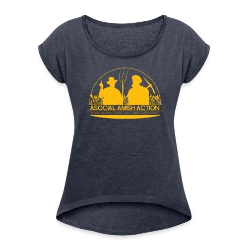 AmishAsocialAction png - T-shirt à manches retroussées Femme