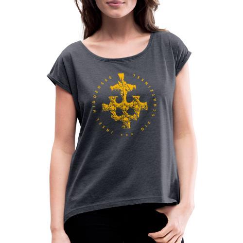 goldschatz_gelb - Frauen T-Shirt mit gerollten Ärmeln