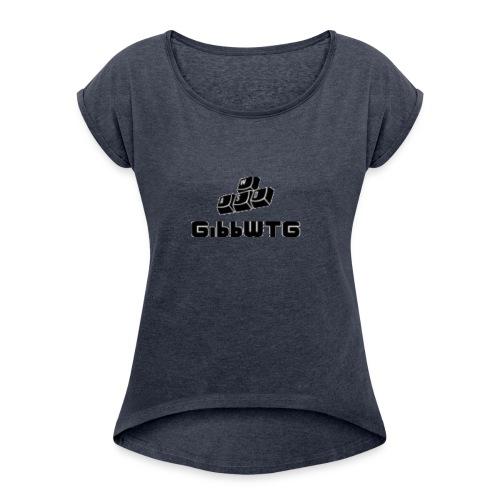 stor svart - T-shirt med upprullade ärmar dam