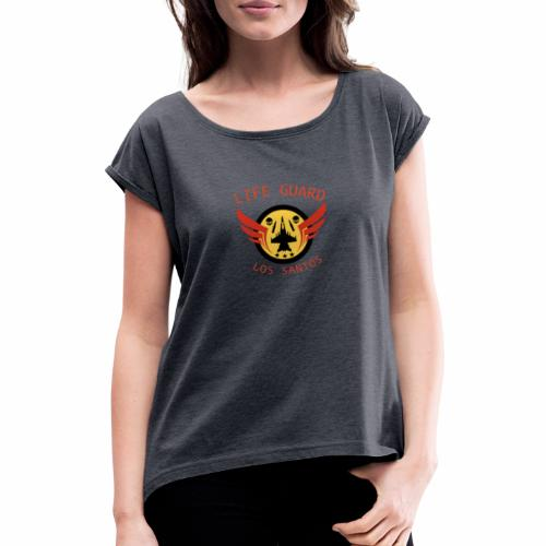Life Guard Logga - T-shirt med upprullade ärmar dam